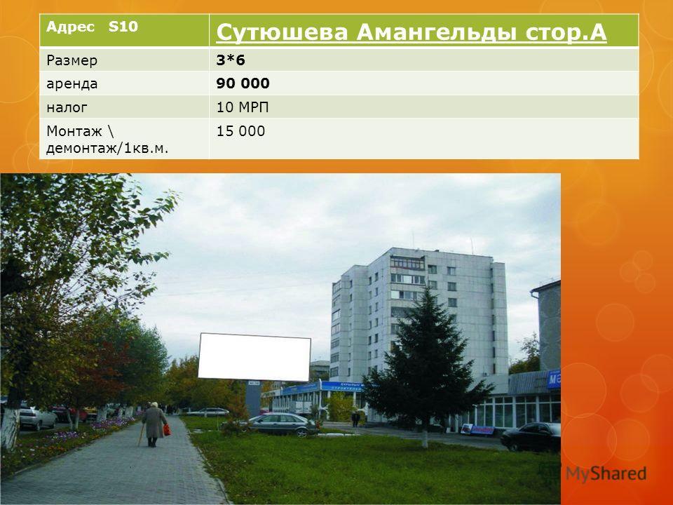 Адрес S10 Сутюшева Амангельды стор.А Размер3*6 аренда90 000 налог10 МРП Монтаж \ демонтаж/1кв.м. 15 000