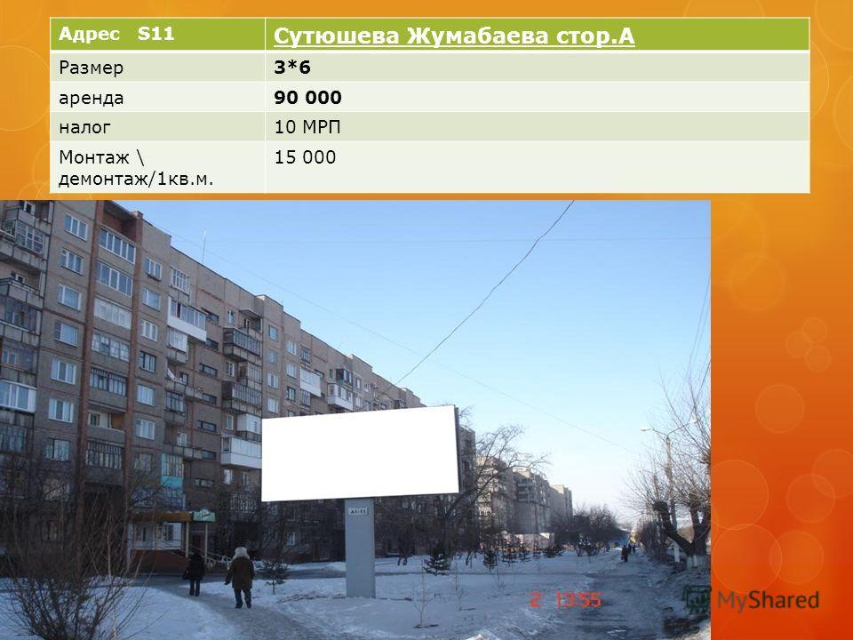 Адрес S11 Сутюшева Жумабаева стор.А Размер3*6 аренда90 000 налог10 МРП Монтаж \ демонтаж/1кв.м. 15 000