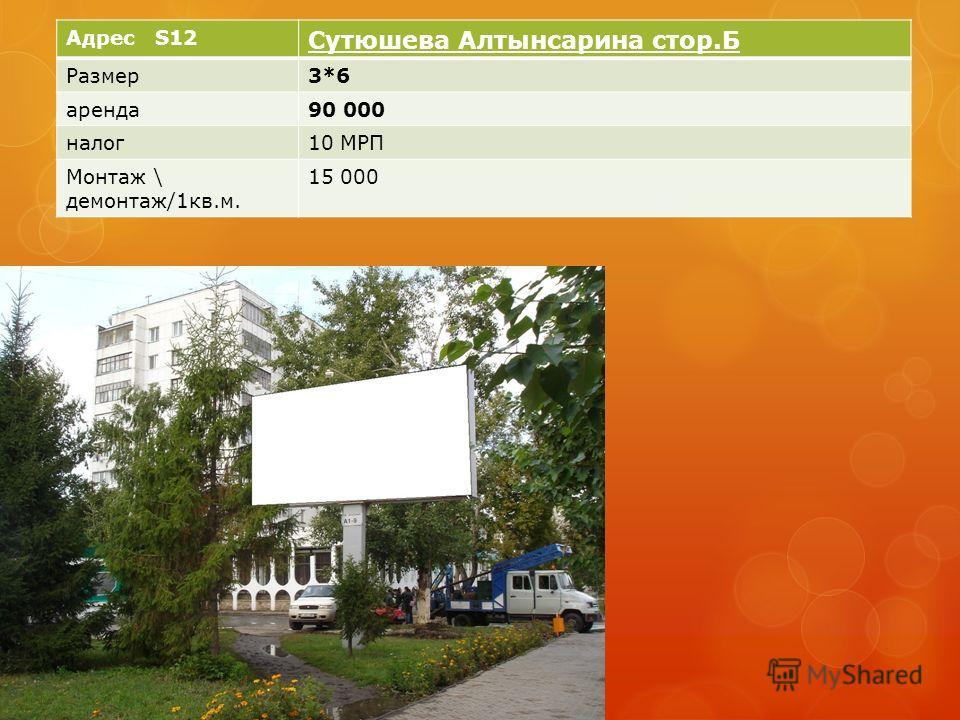 Адрес S12 Сутюшева Алтынсарина стор.Б Размер3*6 аренда90 000 налог10 МРП Монтаж \ демонтаж/1кв.м. 15 000