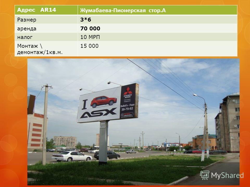 Адрес AR14 Жумабаева-Пионерская стор.A Размер3*6 аренда70 000 налог10 МРП Монтаж \ демонтаж/1кв.м. 15 000