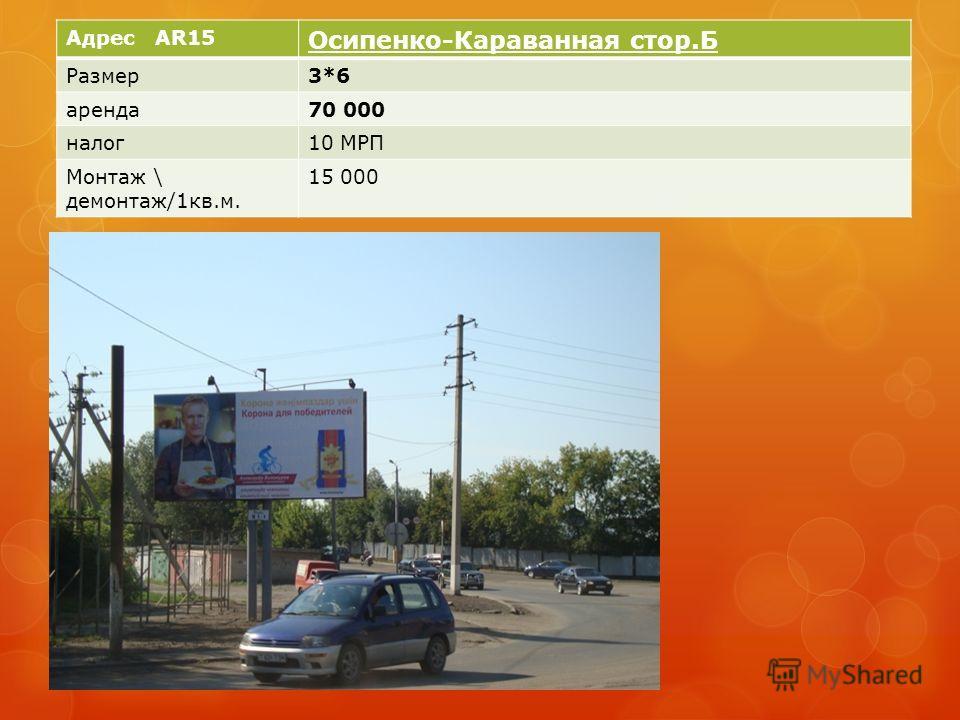 Адрес AR15 Осипенко-Караванная стор.Б Размер3*6 аренда70 000 налог10 МРП Монтаж \ демонтаж/1кв.м. 15 000