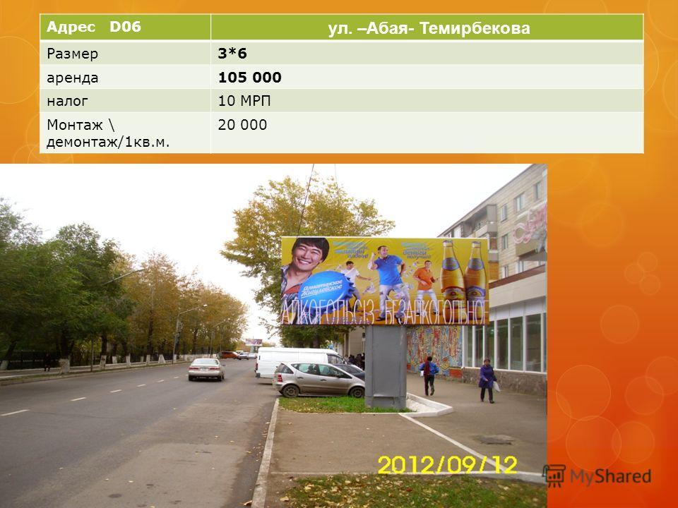 Адрес D06 ул. –Абая- Темирбекова Размер3*6 аренда105 000 налог10 МРП Монтаж \ демонтаж/1кв.м. 20 000