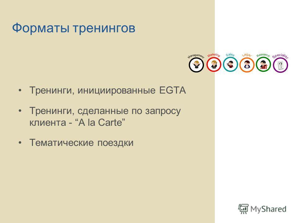 Форматы тренингов Тренинги, инициированные EGTA Тренинги, сделанные по запросу клиента - A la Carte Тематические поездки
