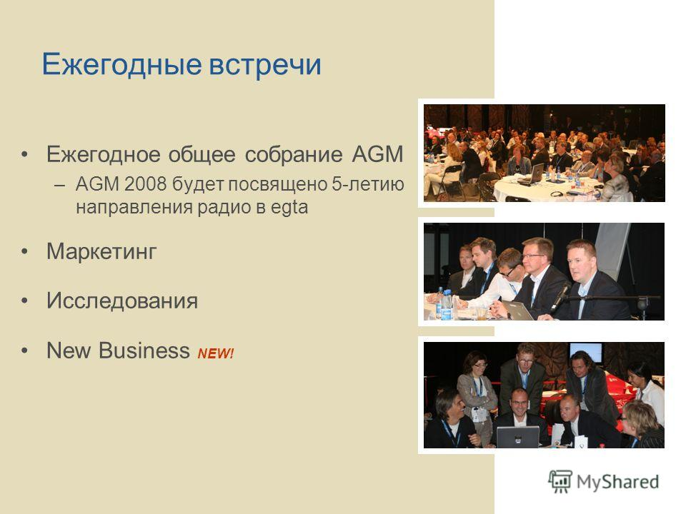 Ежегодные встречи Ежегодное общее собрание AGM –AGM 2008 будет посвящено 5-летию направления радио в egta Маркетинг Исследования New Business NEW!