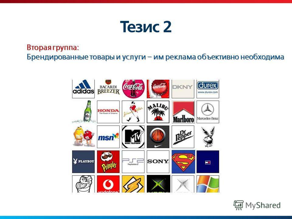 Тезис 2 Вторая группа: Брендированные товары и услуги – им реклама объективно необходима