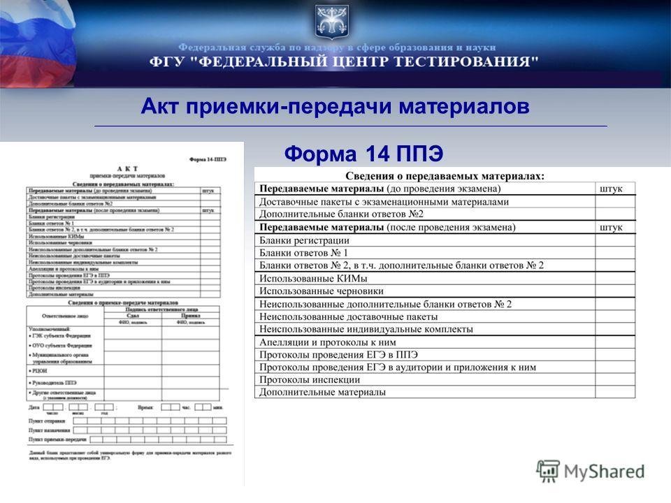 Форма 14 ППЭ Акт приемки-передачи материалов