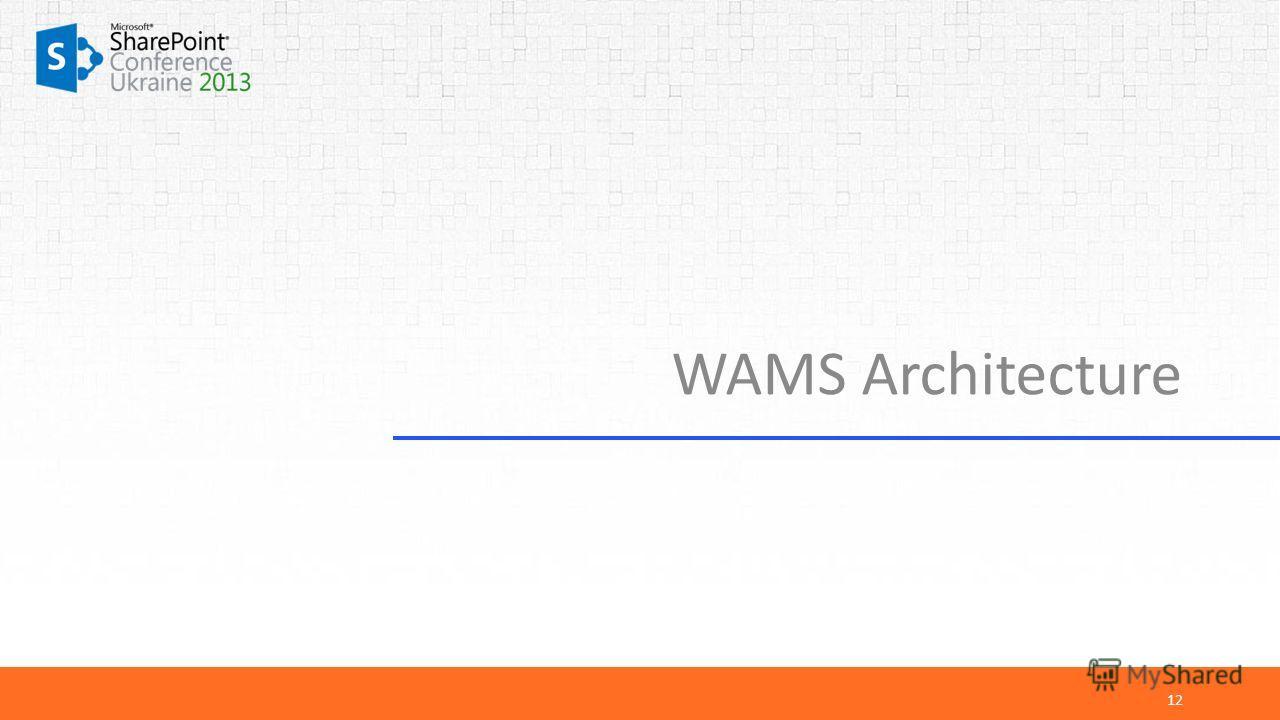 WAMS Architecture 12