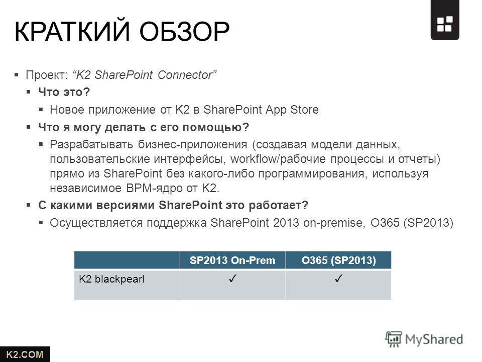 K2.COM Проект: K2 SharePoint Connector Что это? Новое приложение от K2 в SharePoint App Store Что я могу делать с его помощью? Разрабатывать бизнес-приложения (создавая модели данных, пользовательские интерфейсы, workflow/рабочие процессы и отчеты) п