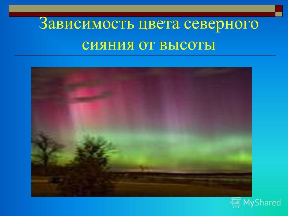 Зависимость цвета северного сияния от высоты