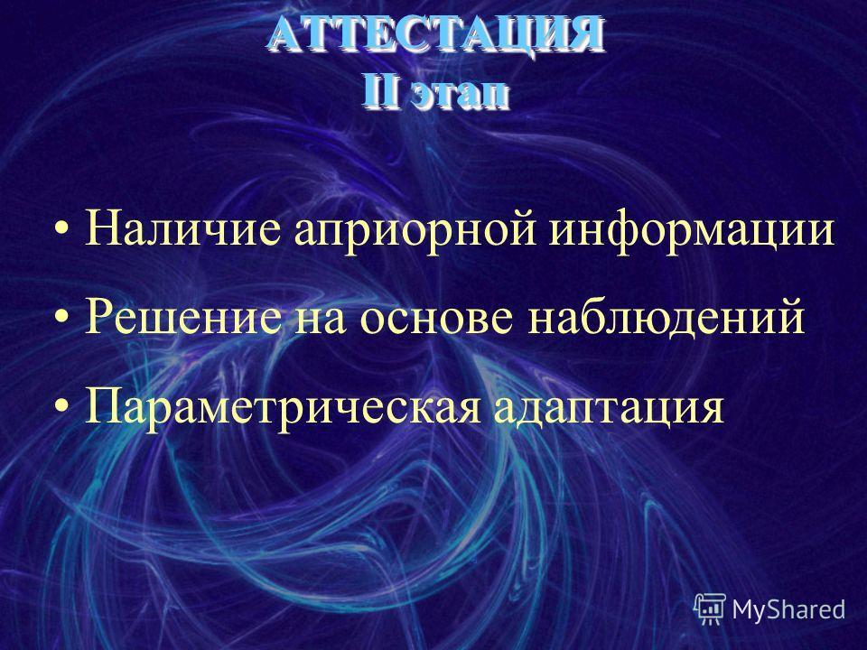 АТТЕСТАЦИЯ II этап Наличие априорной информации Решение на основе наблюдений Параметрическая адаптация