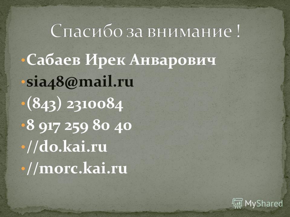 Сабаев Ирек Анварович sia48@mail.ru (843) 2310084 8 917 259 80 40 //do.kai.ru //morc.kai.ru