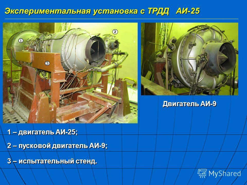 Экспериментальная установка с ТРДД АИ-25 1 – двигатель АИ-25; 2 – пусковой двигатель АИ-9; 3 – испытательный стенд. Двигатель АИ-9