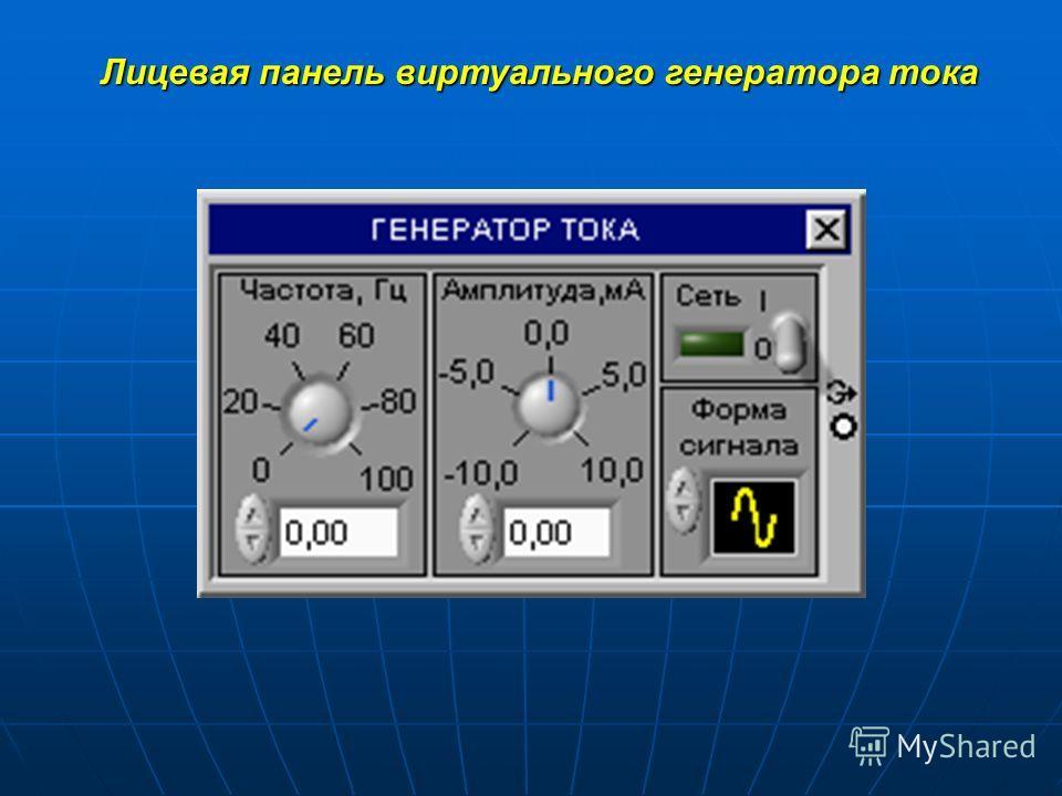 Лицевая панель виртуального генератора тока