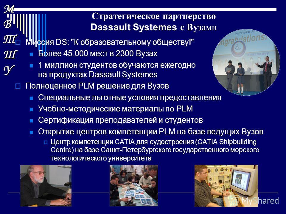 МВТШУМВТШУМВТШУМВТШУ Стратегическое партнерство Dassault Systemes с Вузами Миссия DS: