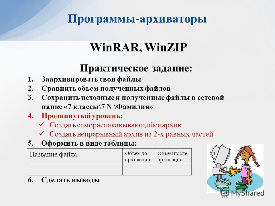 Программы-архиваторы WinRAR, WinZIP Практическое задание: 1.Заархивировать свои файлы 2.Сравнить объем полученных файлов 3.Сохранить исходные и полученные файлы в сетевой папке «7 классы\7 N \Фамилия» 4.Продвинутый уровень: Создать самораспаковывающи