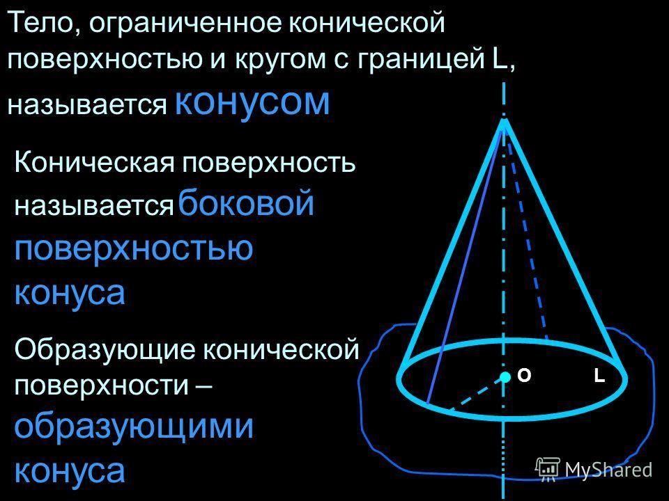 Тело, ограниченное конической поверхностью и кругом с границей L, называется конусом Коническая поверхность называется боковой поверхностью конуса Образующие конической поверхности – образующими конуса ОL