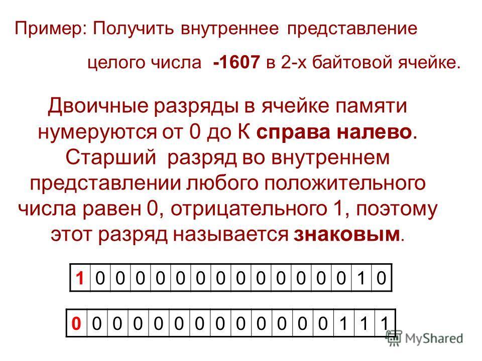 Пример: Получить внутреннее представление целого числа -1607 в 2-х байтовой ячейке. Двоичные разряды в ячейке памяти нумеруются от 0 до К справа налево. Старший разряд во внутреннем представлении любого положительного числа равен 0, отрицательного 1,