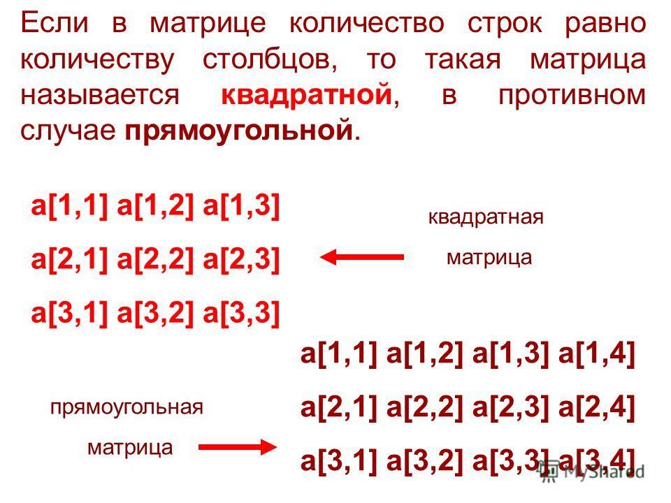 Если в матрице количество строк равно количеству столбцов, то такая матрица называется квадратной, в противном случае прямоугольной. a[1,1] a[1,2] a[1,3] a[1,4] a[2,1] a[2,2] a[2,3] a[2,4] a[3,1] a[3,2] a[3,3] a[3,4] a[1,1] a[1,2] a[1,3] a[2,1] a[2,2