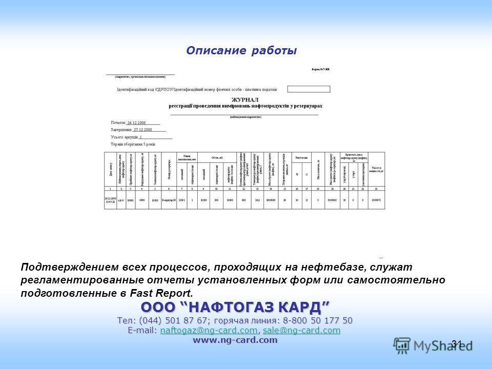 ООО НАФТОГАЗ КАРД Тел: (044) 501 87 67; горячая линия: 8-800 50 177 50 E-mail: naftogaz@ng-card.com, sale@ng-card.com naftogaz@ng-card.comsale@ng-card.comnaftogaz@ng-card.comsale@ng-card.comwww.ng-card.com 31 Описание работы Подтверждением всех проце