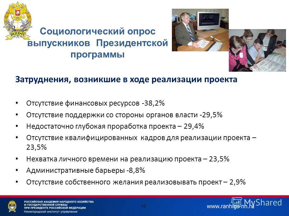 16 Затруднения, возникшие в ходе реализации проекта Отсутствие финансовых ресурсов -38,2% Отсутствие поддержки со стороны органов власти -29,5% Недостаточно глубокая проработка проекта – 29,4% Отсутствие квалифицированных кадров для реализации проект