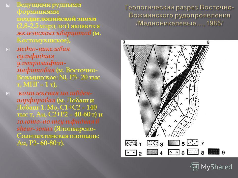 Ведущими рудными формациями позднелопийской эпохи (2,8-2,5 млрд лет ) являются железистых кварцитов ( м. Костомукшское ), медно - никелевая сульфидная ультрамафит - мафитовая ( м. Восточно - Вожминское : Ni, Р 3- 20 тыс т, МПГ – 1 т ), комплексная мо