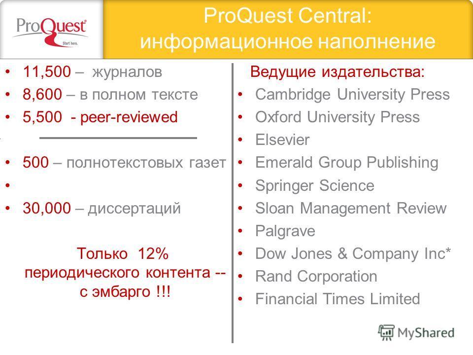 ProQuest Central: информационное наполнение 11,500 – журналов 8,600 – в полном тексте 5,500 - peer-reviewed 500 – полнотекстовых газет 30,000 – диссертаций Только 12% периодического контента -- с эмбарго !!! Ведущие издательства: Cambridge University