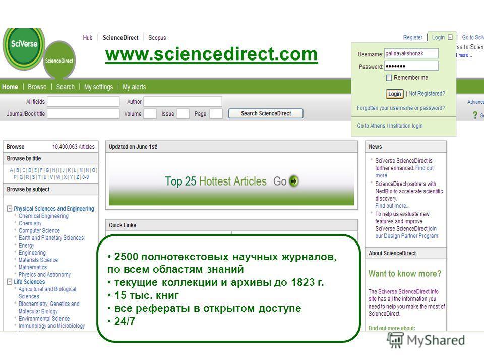 www.sciencedirect.com 2500 полнотекстовых научных журналов, по всем областям знаний текущие коллекции и архивы до 1823 г. 15 тыс. книг все рефераты в открытом доступе 24/7