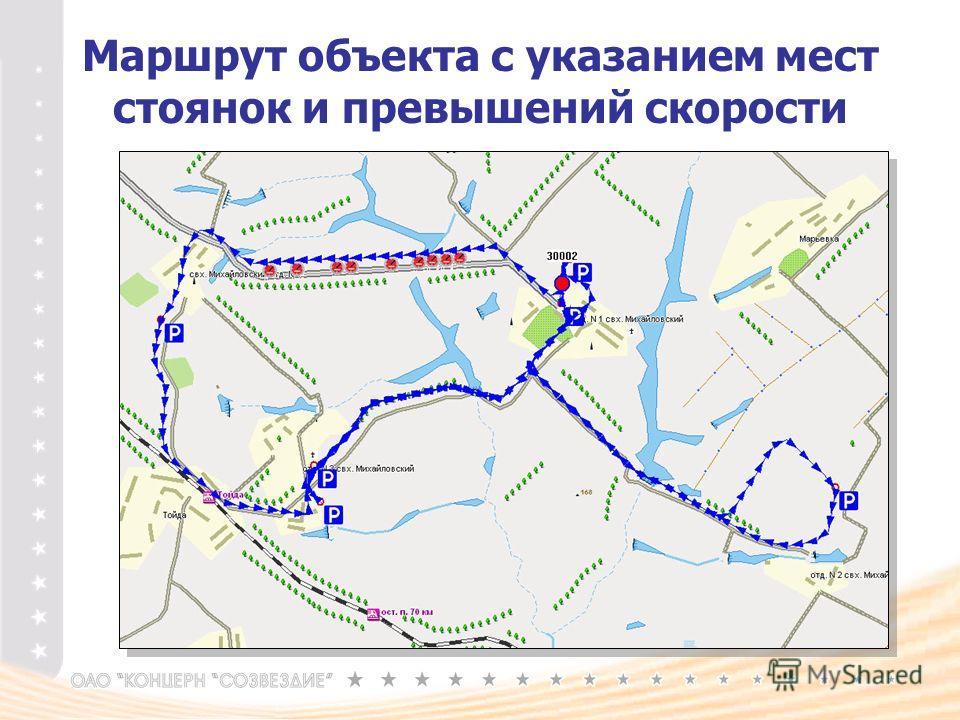 Маршрут объекта с указанием мест стоянок и превышений скорости