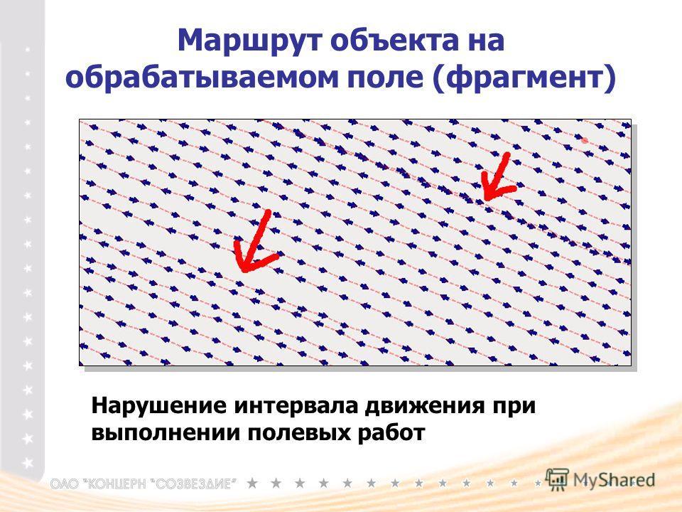 Маршрут объекта на обрабатываемом поле (фрагмент) Нарушение интервала движения при выполнении полевых работ