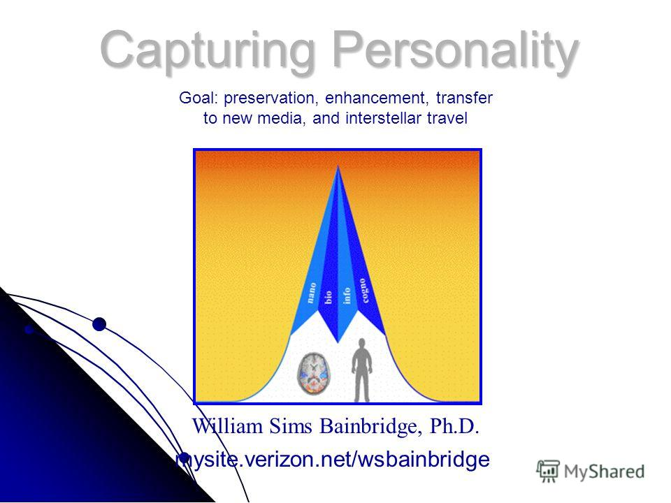 Capturing Personality William Sims Bainbridge, Ph.D. mysite.verizon.net/wsbainbridge Goal: preservation, enhancement, transfer to new media, and interstellar travel