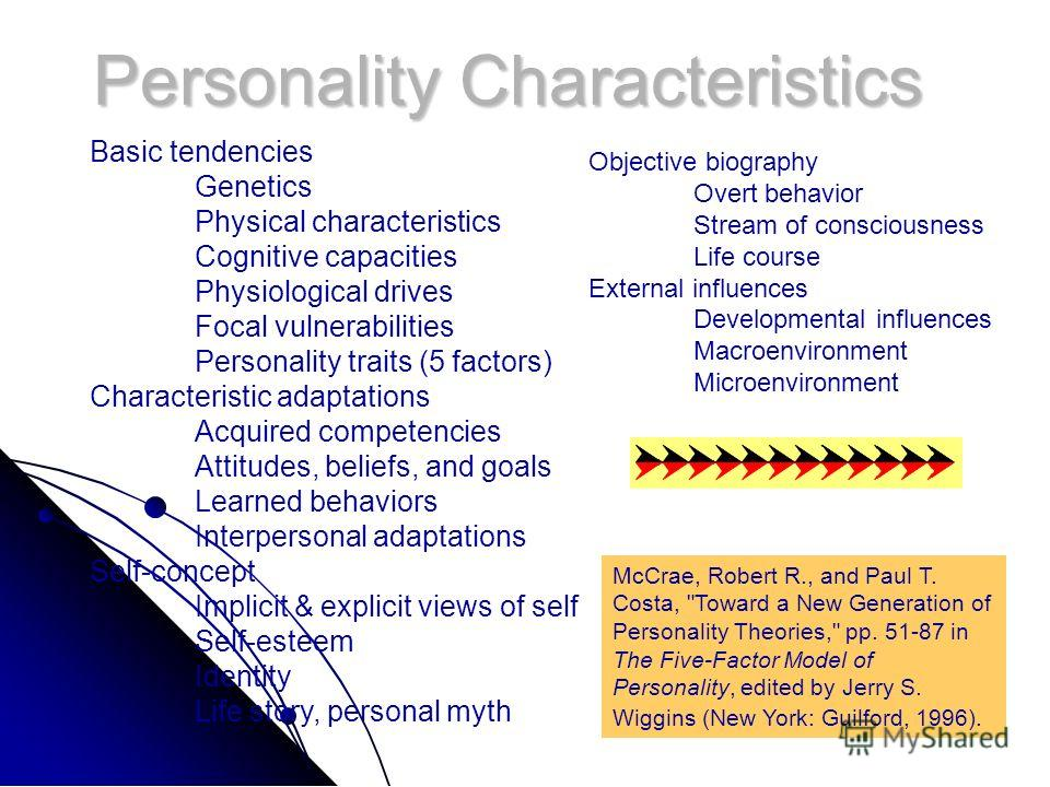 Personality Characteristics Basic tendencies Genetics Physical characteristics Cognitive capacities Physiological drives Focal vulnerabilities Personality traits (5 factors) Characteristic adaptations Acquired competencies Attitudes, beliefs, and goa