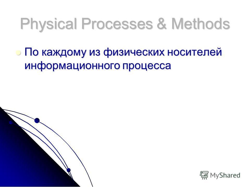 Physical Processes & Methods По каждому из физических носителей информационного процесса По каждому из физических носителей информационного процесса