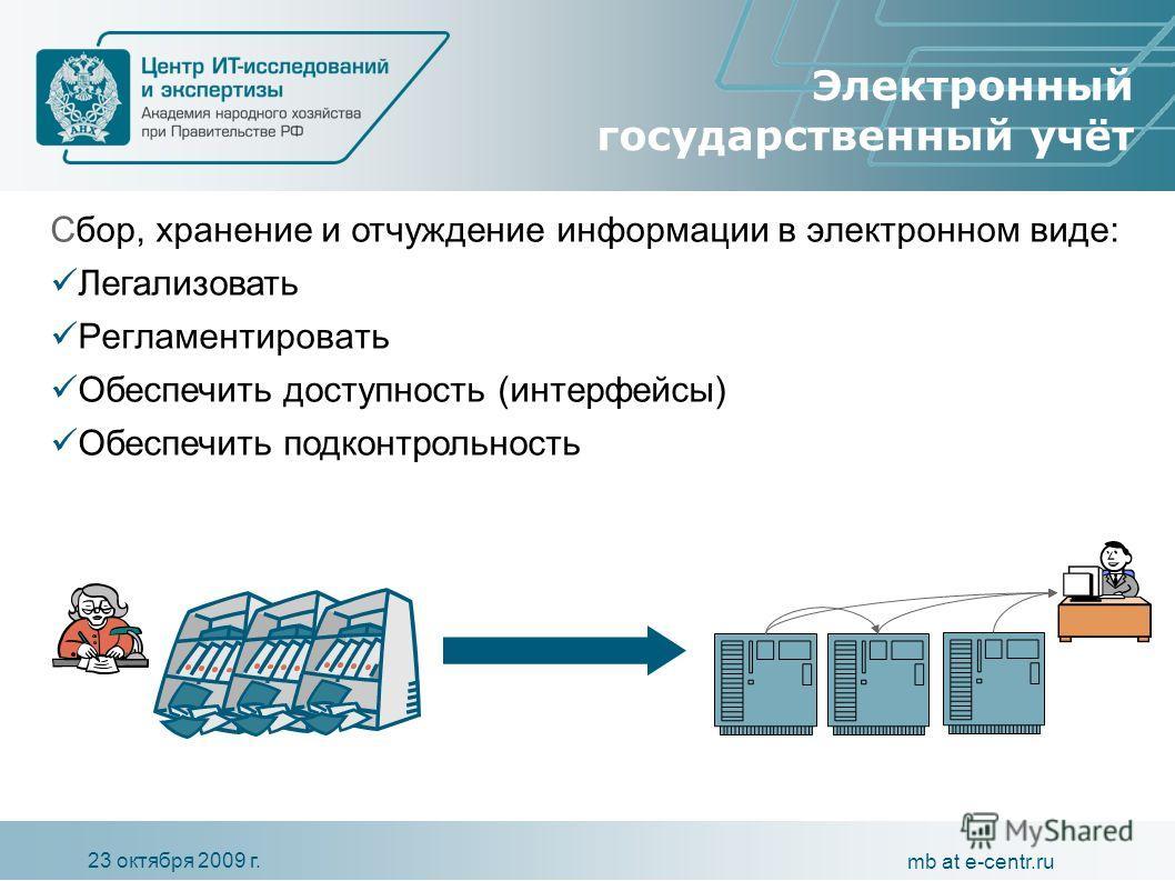 23 октября 2009 г. mb at e-centr.ru Электронный государственный учёт С бор, хранение и отчуждение информации в электронном виде : Легализовать Регламентировать Обеспечить доступность (интерфейсы) Обеспечить подконтрольность