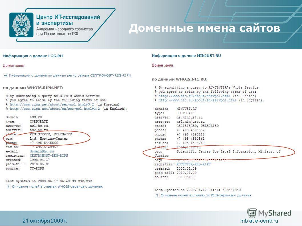 mb at e-centr.ru21 октября 2009 г. Доменные имена сайтов