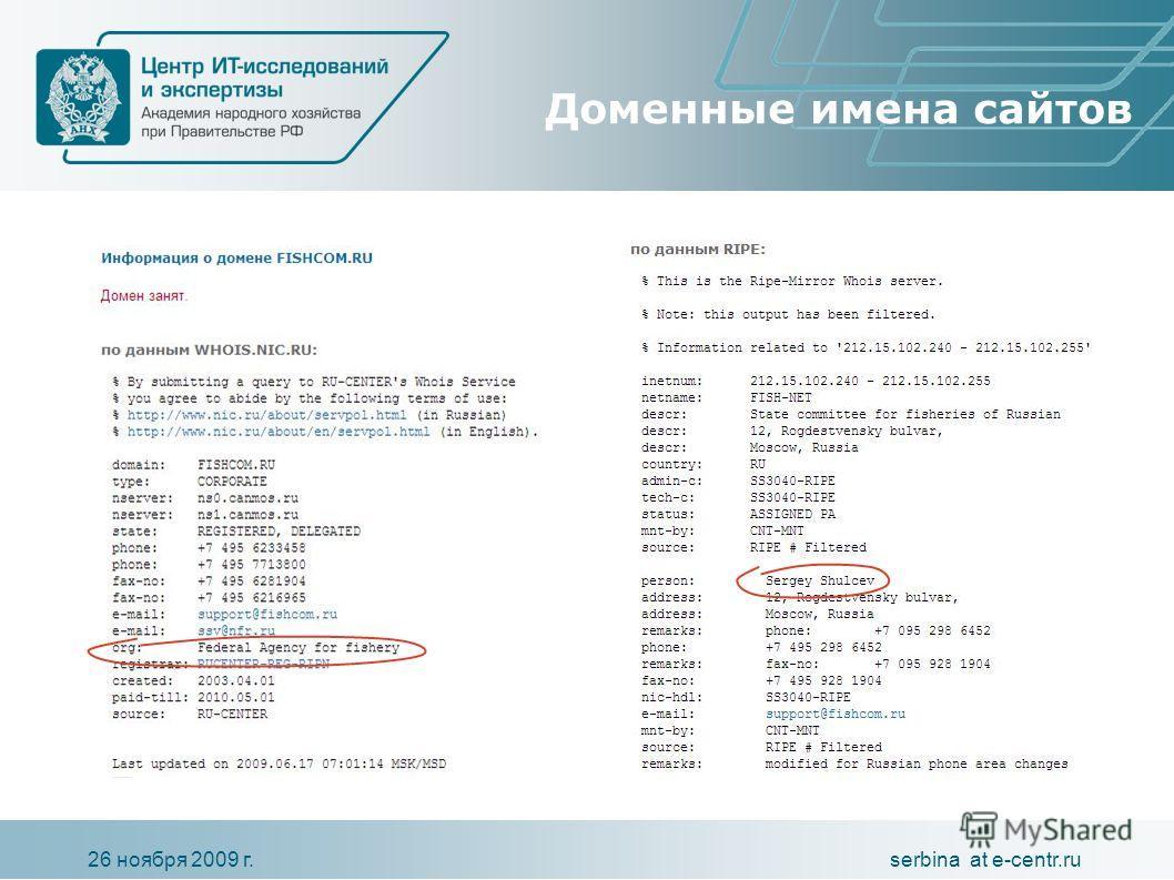 serbina at e-centr.ru26 ноября 2009 г. Доменные имена сайтов