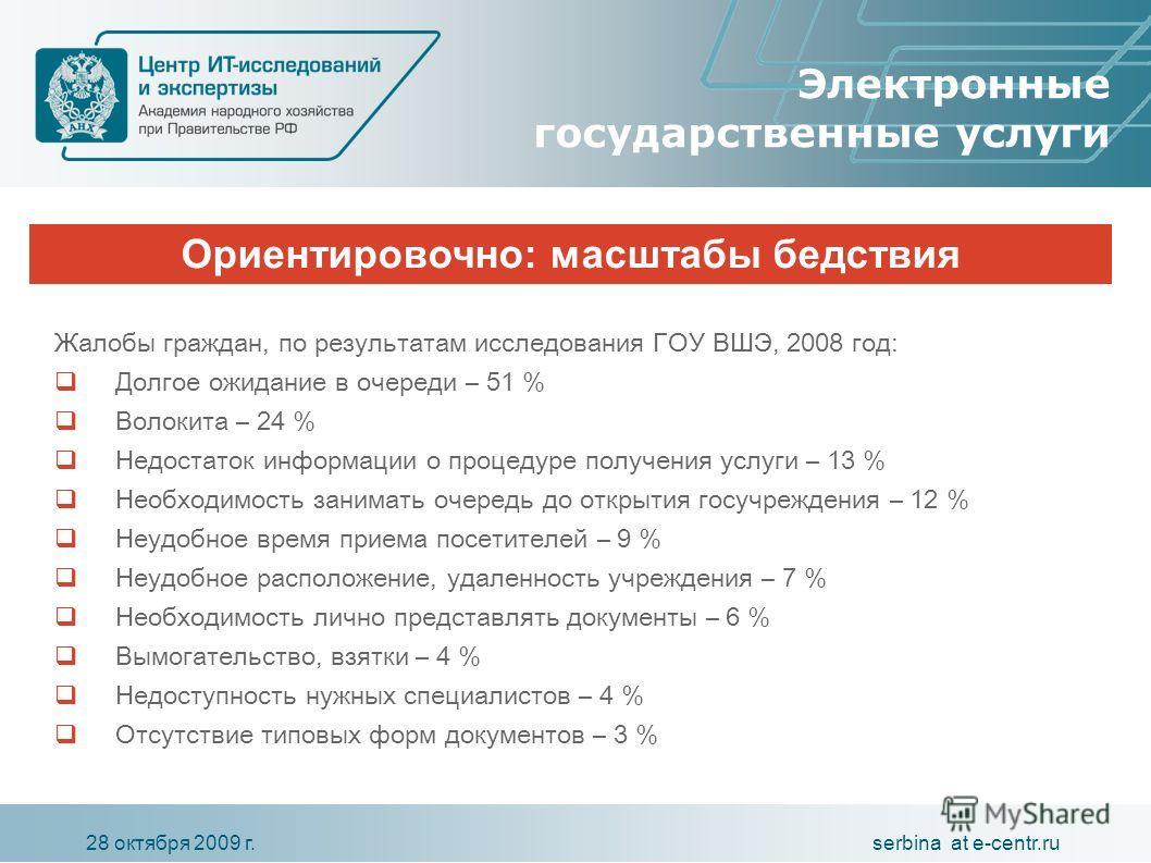 serbina at e-centr.ru28 октября 2009 г. Ориентировочно: масштабы бедствия Электронные государственные услуги Жалобы граждан, по результатам исследования ГОУ ВШЭ, 2008 год: Долгое ожидание в очереди – 51 % Волокита – 24 % Недостаток информации о проце