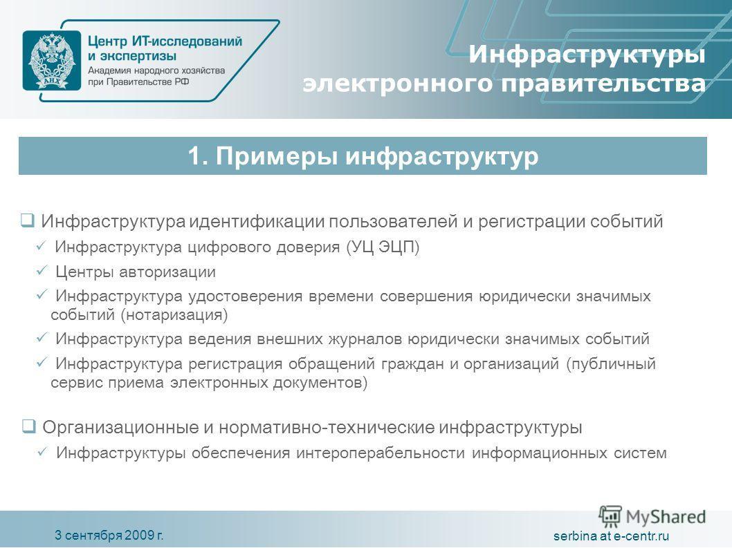 3 сентября 2009 г. serbina at e-centr.ru Инфраструктуры электронного правительства Инфраструктура идентификации пользователей и регистрации событий Инфраструктура цифрового доверия (УЦ ЭЦП) Центры авторизации Инфраструктура удостоверения времени сове
