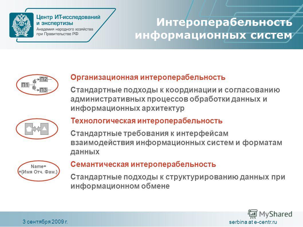 3 сентября 2009 г. serbina at e-centr.ru Интероперабельность информационных систем Организационная интероперабельность Стандартные подходы к координации и согласованию административных процессов обработки данных и информационных архитектур Технологич