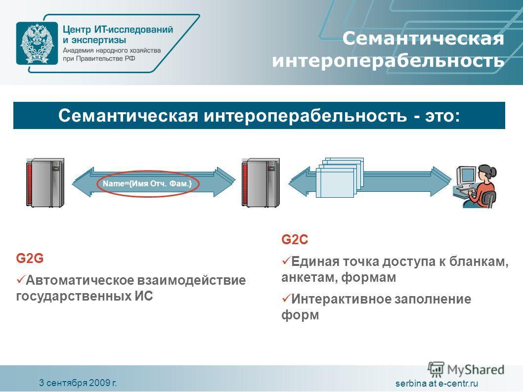 3 сентября 2009 г. serbina at e-centr.ru Name={Имя Отч. Фам.} G2G Автоматическое взаимодействие государственных ИС G2C Единая точка доступа к бланкам, анкетам, формам Интерактивное заполнение форм Семантическая интероперабельность Семантическая интер