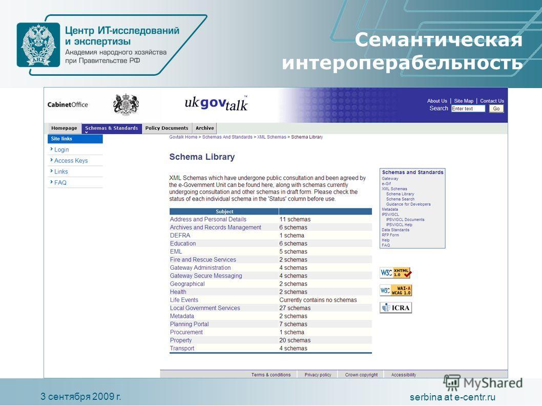 3 сентября 2009 г. serbina at e-centr.ru Семантическая интероперабельность