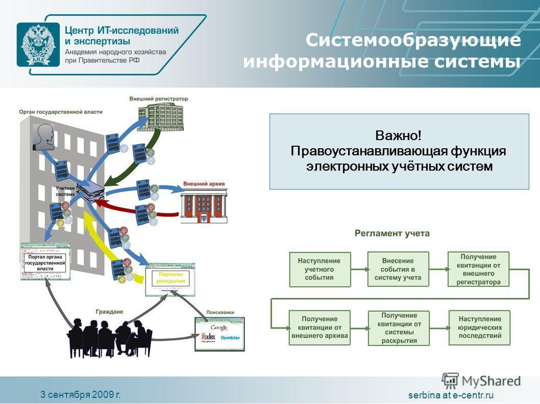 3 сентября 2009 г. serbina at e-centr.ru Системообразующие информационные системы Важно! Правоустанавливающая функция электронных учётных систем