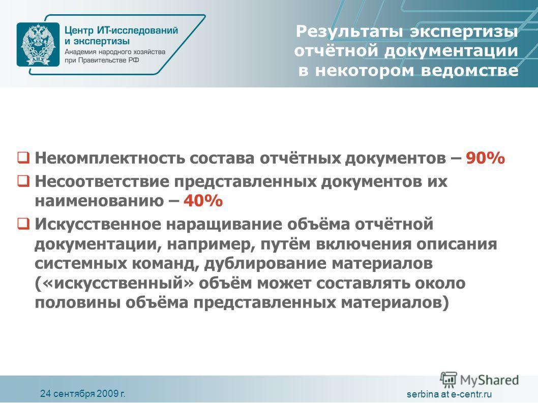 24 сентября 2009 г. serbina at e-centr.ru Результаты экспертизы отчётной документации в некотором ведомстве Некомплектность состава отчётных документов – 90% Несоответствие представленных документов их наименованию – 40% Искусственное наращивание объ