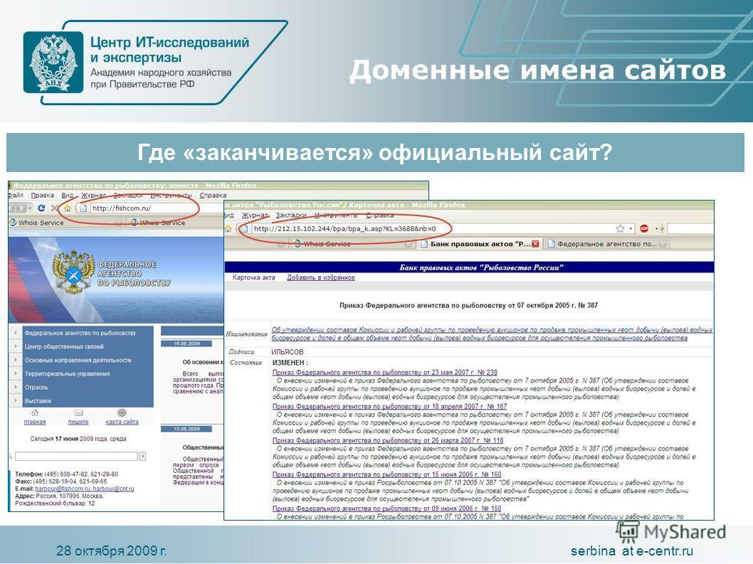 serbina at e-centr.ru28 октября 2009 г. Где «заканчивается» официальный сайт? Доменные имена сайтов