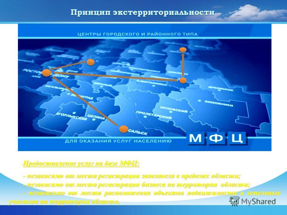 Предоставление услуг на базе МФЦ: - независимо от места регистрации заявителя в пределах области; - независимо от места регистрации бизнеса на территории области; - независимо от места расположения объектов недвижимости и земельных участков на террит