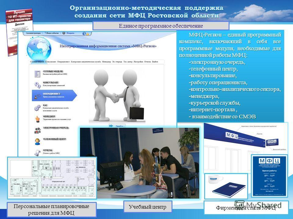 МФЦ-Регион – единый программный комплекс, включающий в себя все программные модули, необходимые для полноценной работы МФЦ: -электронную очередь, -телефонный центр, -консультирование, -работу операциониста, -контрольно-аналитического сектора, -менедж