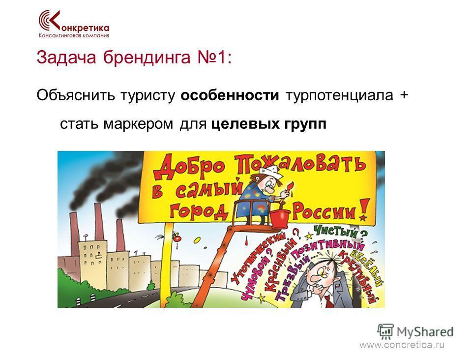 Задача брендинга 1: Объяснить туристу особенности турпотенциала + стать маркером для целевых групп www.concretica.ru