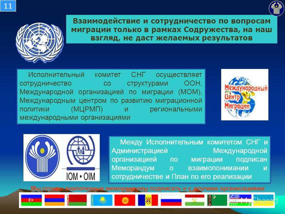 Взаимодействие и сотрудничество по вопросам миграции только в рамках Содружества, на наш взгляд, не даст желаемых результатов Исполнительный комитет СНГ осуществляет сотрудничество со структурами ООН, Международной организацией по миграции (МОМ), Меж