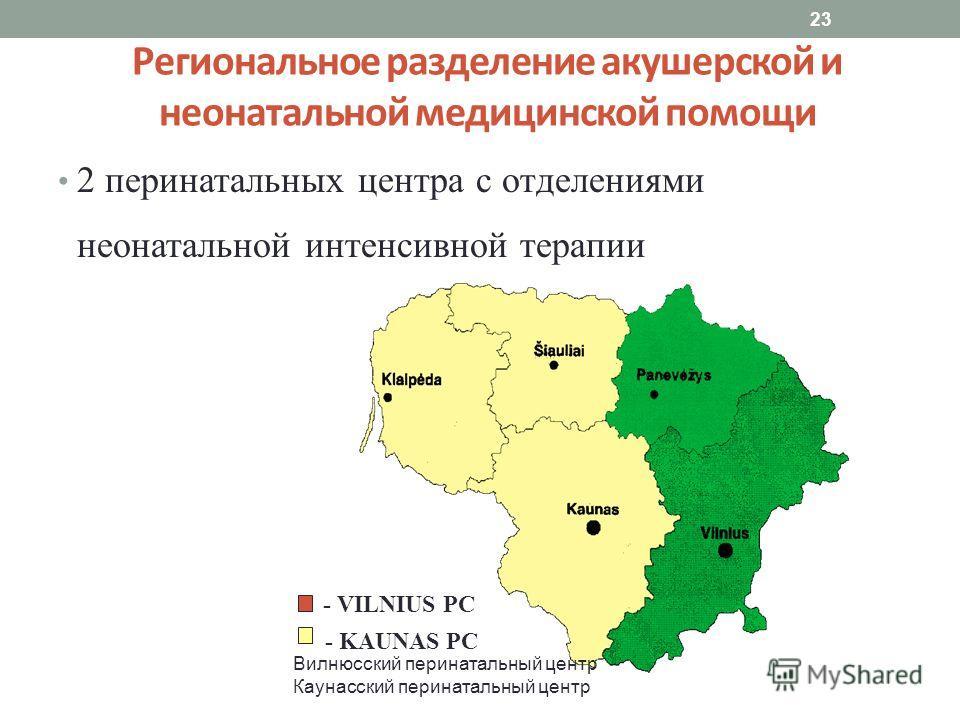 23 Региональное разделение акушерской и неонатальной медицинской помощи 2 перинатальных центра с отделениями неонатальной интенсивной терапии - VILNIUS PC - KAUNAS PC Вилнюсский перинатальный центр Каунасский перинатальный центр