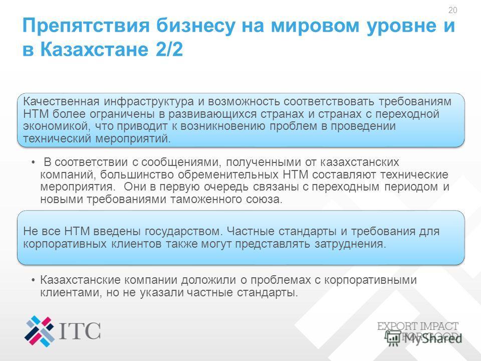 Препятствия бизнесу на мировом уровне и в Казахстане 2/2 Качественная инфраструктура и возможность соответствовать требованиям НТМ более ограничены в развивающихся странах и странах с переходной экономикой, что приводит к возникновению проблем в пров