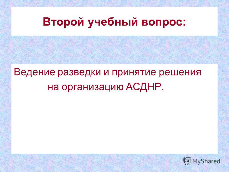 Второй учебный вопрос: Ведение разведки и принятие решения на организацию АСДНР.